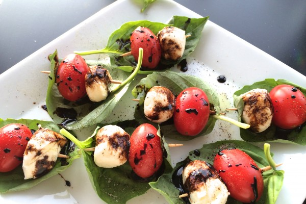caprese skewers with a balsamic reduction