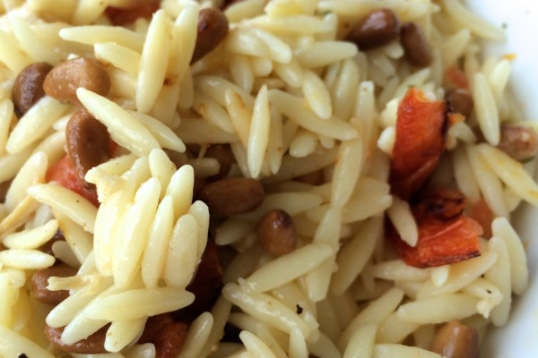 lemon orzo with tomatoes & toasted pine nuts