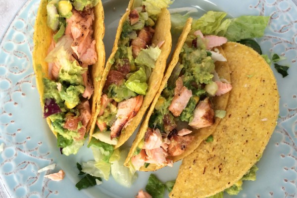 salmon tacos with corn guacamole