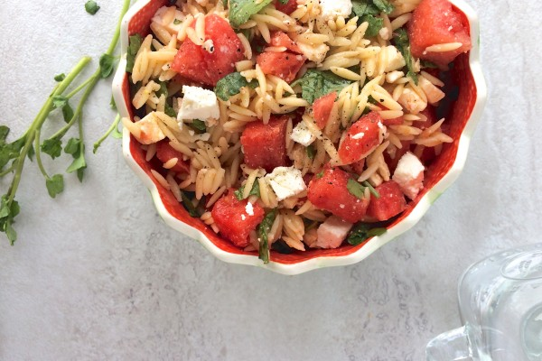 watermelon and feta orzo salad