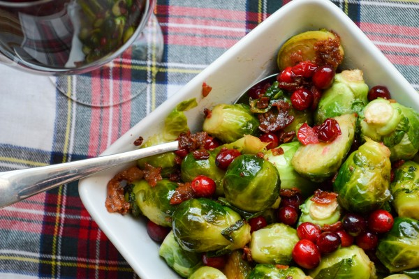 Bacon Brussels Sprouts with Cranberries