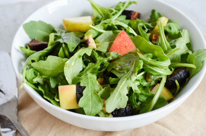 Fall Arugula Salad with Lemon Balsamic Dressing