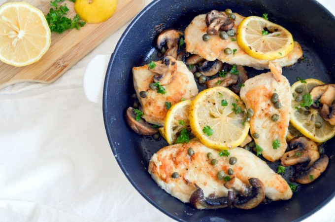 One Pan Chicken with Mushrooms and Capers