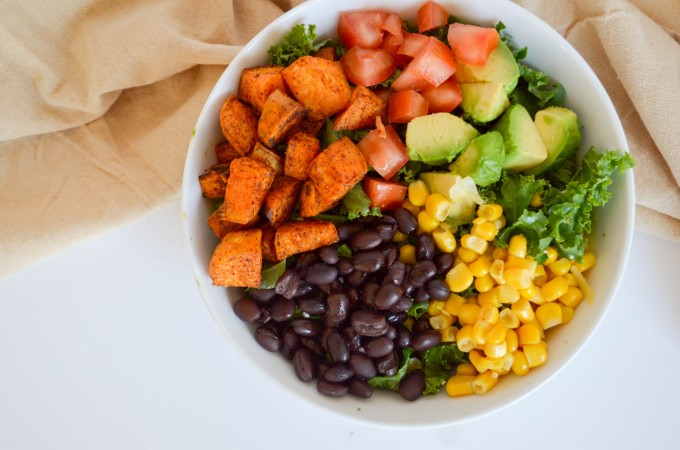 Southwestern Sweet Potato Salad (Black Bean Burger Salad)