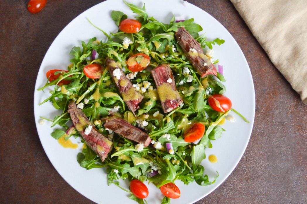 Flank Steak Salad with Blue Cheese and Arugula - Sassy Eats