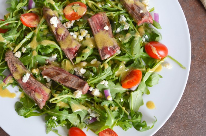 Flank Steak Salad with Blue Cheese and Arugula