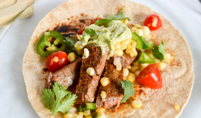 Spiced-Rubbed Flank Steak Tacos with Avocado Crema