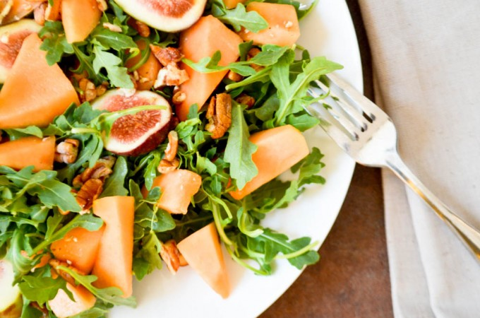 Melon Arugula Salad with Pecans
